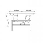 Ferrure pour table basse transformable à 2 plateaux pliants